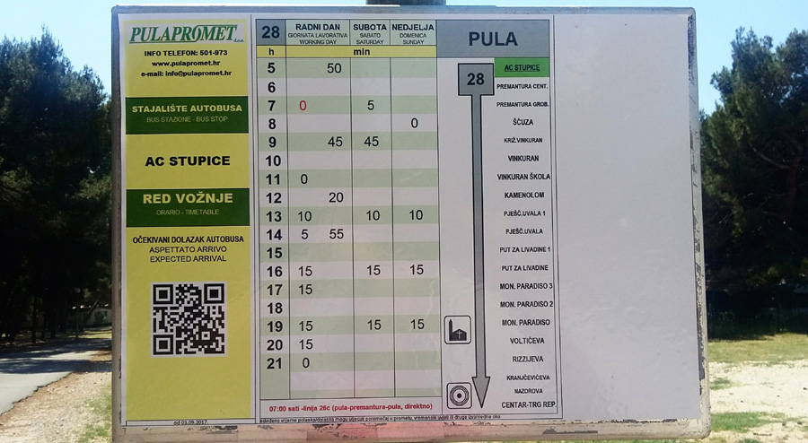 Bus timetable in camp Stupice