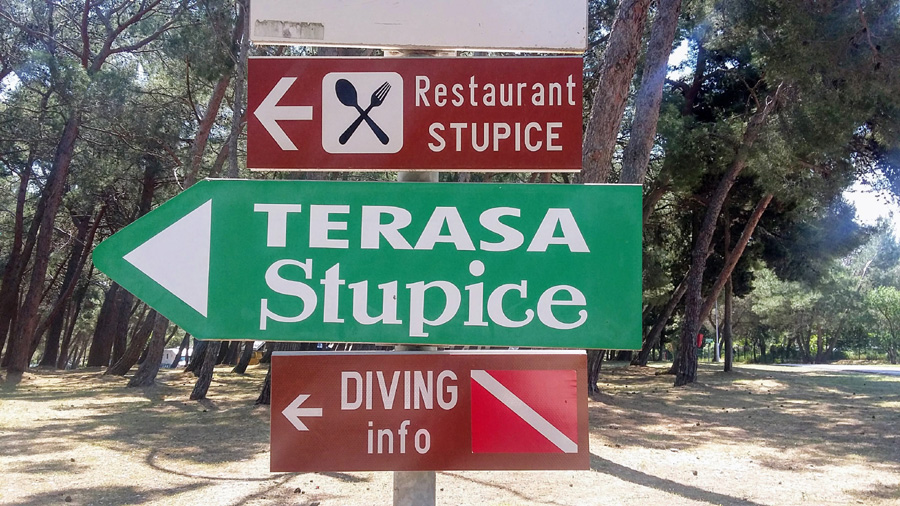 Restaurants signs in stupice camp